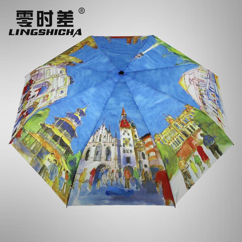中益双层雨伞油画风格复古伞防晒折叠太阳伞女晴高端出口雨伞男士