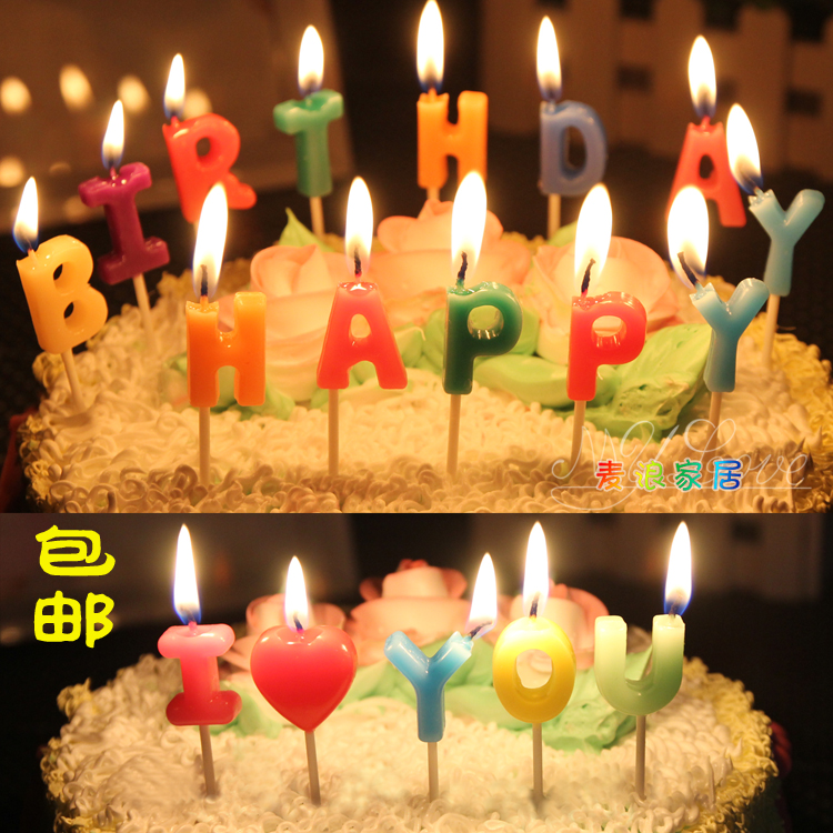 Child Birthday Candle Happy Number English Alphabet Party