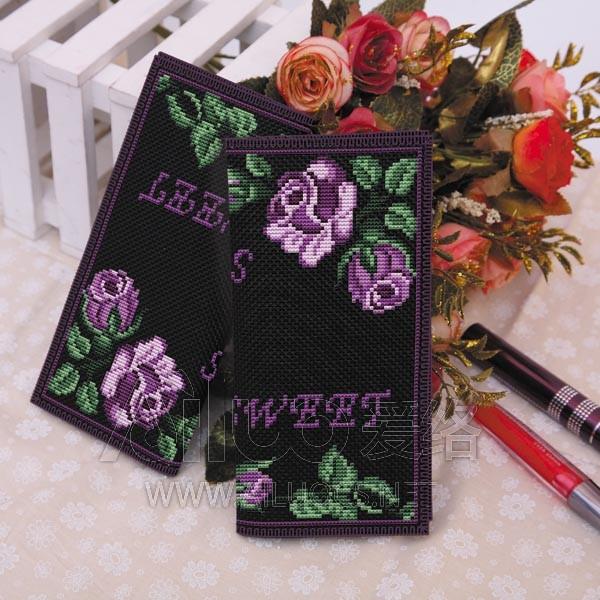 爱络新款长款女式黑布两折清新花 紫色玫瑰十字绣钱包套件包邮