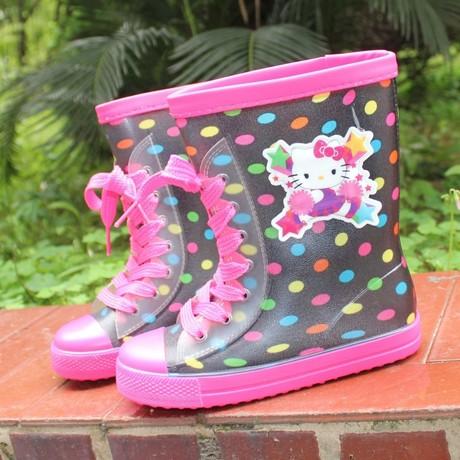 | Цена 472 руб | Новый ребенок сапоги Hello Kitty мальчиков и девочек, кристалл мода сапоги скольжение мода мультики сапоги
