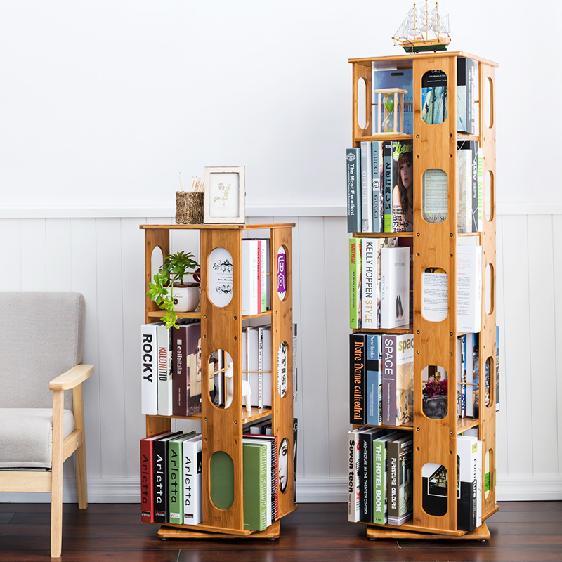 Bookcase Bookshelf Simple Student Rotating Bamboo Shelf Modern Minimalist Children Free Combination
