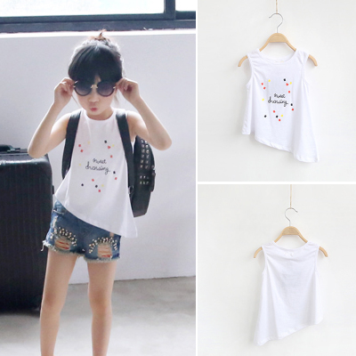 2018 children's summer models new irregular round neck girl sleeveless vest children's shirt 1131
