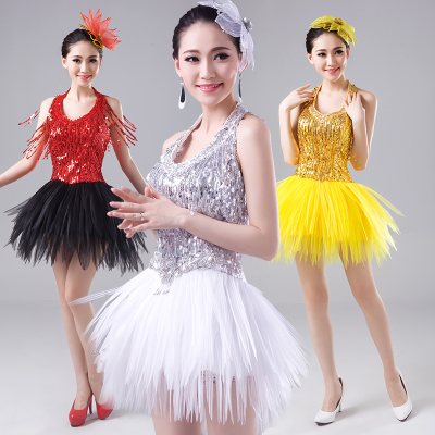 Jazz Dance Costumes Night Club DS Modern Dance Costume Performing Apparel Adult Jazz Dance Stage Pompon Skirt Sexy Sexy Sexy Sexual Segments