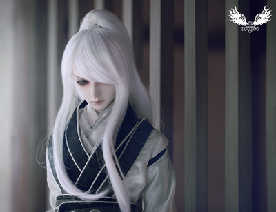 taobao agent Pure Yang Ancient Costume Horsetail(3 points uncle BJD doll costume wig black and white two colors)AAQ-463