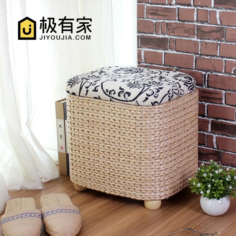 收纳凳实木储物凳子坐箱草编换鞋凳鞋柜可坐人长方形床尾沙发坐凳