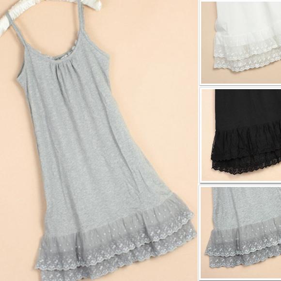 新款纯棉背心中长款内搭日系小清新吊带蕾丝花边拼接百搭打底裙女