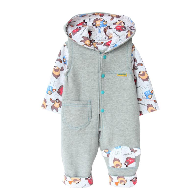 婴儿春秋新款薄棉衣服男女宝宝童装全棉连体背带裤新生儿儿童套装