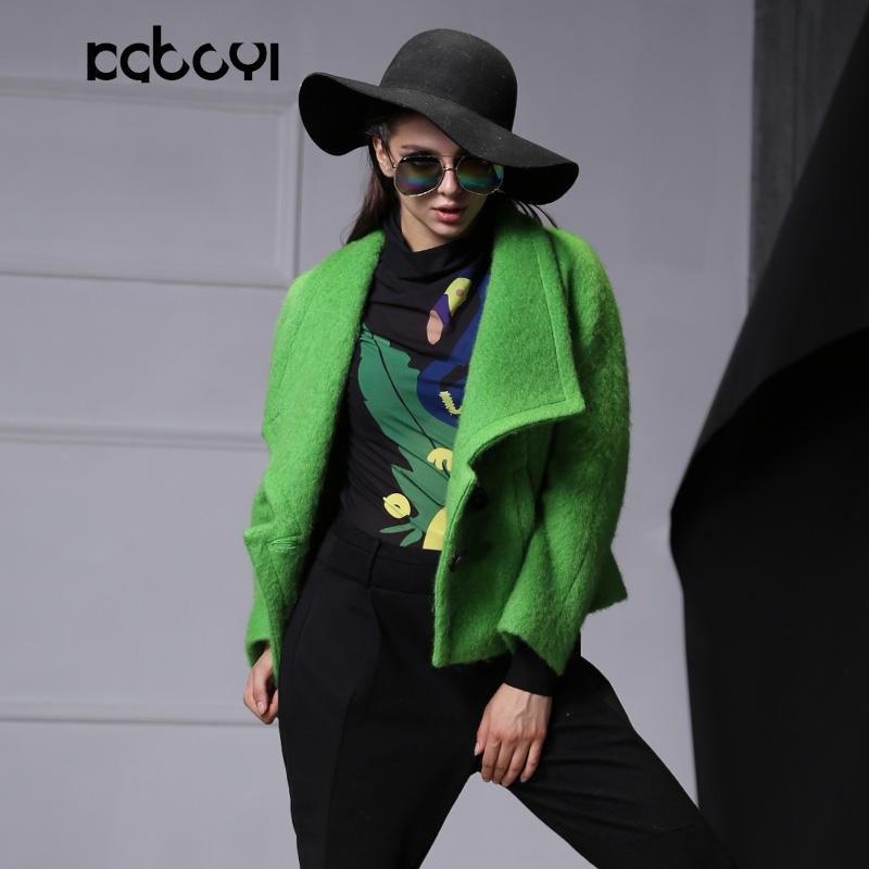 Kabu Yi gốc thiết kế thương hiệu đơn giản thanh lịch ve áo Slim dài tay màu xanh lá cây chất liệu ngắn áo khoác nữ