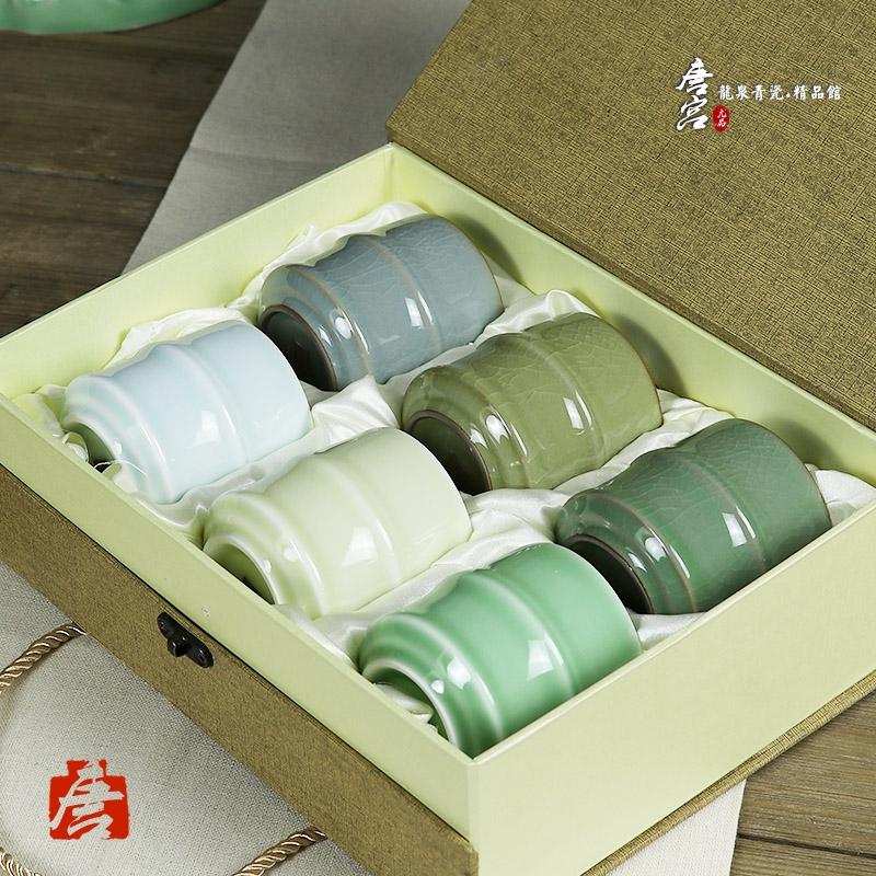 龙泉青瓷竹节水杯小功夫6色陶瓷冰裂品茗哥窑v青瓷杯茶杯茶具