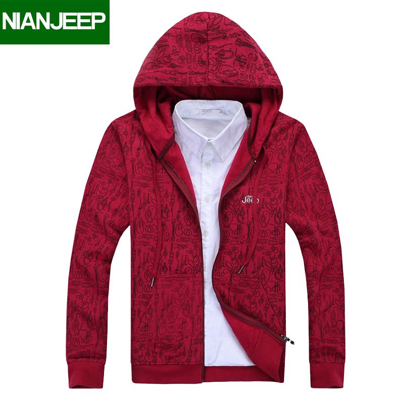 2018 mùa xuân NIAN JEEP cộng với nhung trùm đầu áo len nam sinh viên Hàn Quốc cardigan nam lỏng lẻo thể thao áo khoác