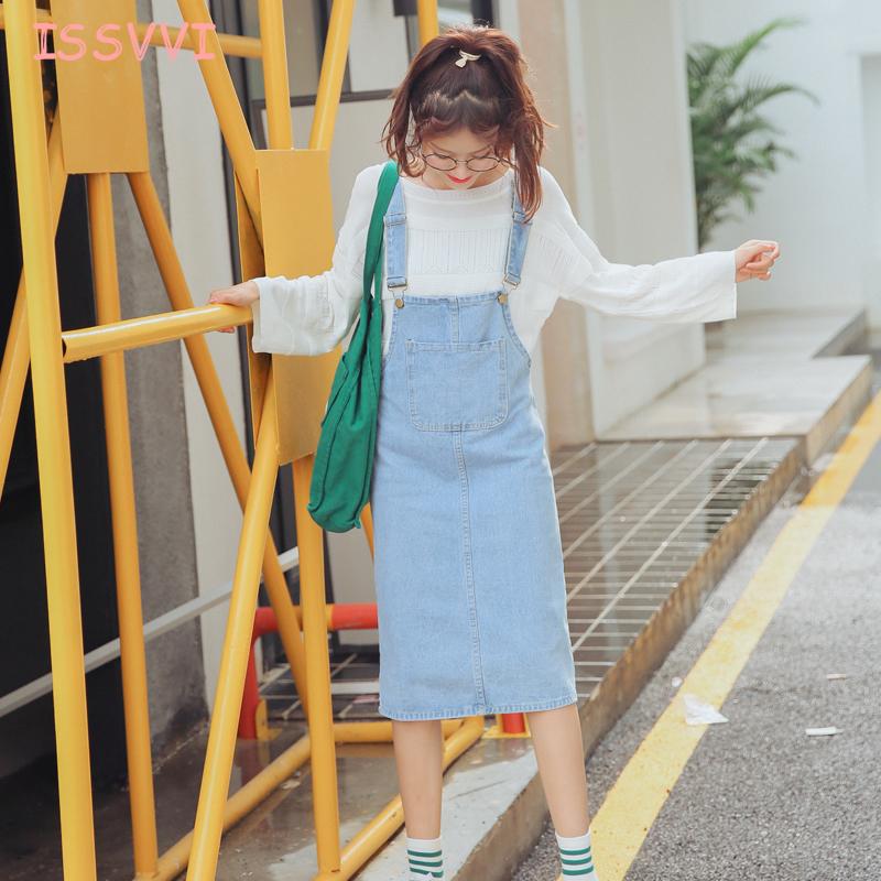 欧阳娜娜同款森马连衣裙2016冬装新款女印花牛仔A字背带半裙韩版