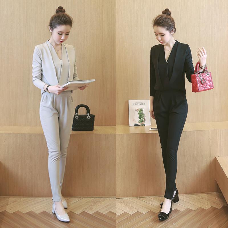 2018新款春装套装女时尚潮韩版名媛气质显瘦长袖长裤连体裤两件套