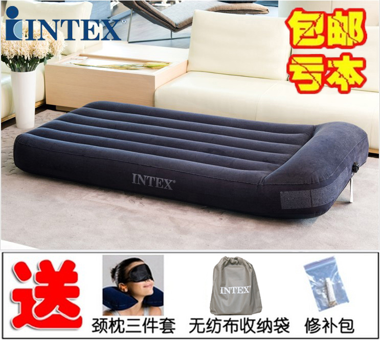 Genuine INTEX built-in pillow double inflatable mattress single inflatable mat bed camping tent inflatable bed plus thick