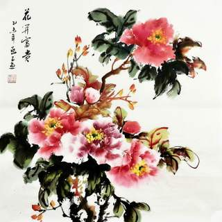 Civilian Painting Academy Pure Hand-painted Gift Painting Decorative Painting YF010525 Four-foot Dou Fang Chinese Painting Peony 66 66