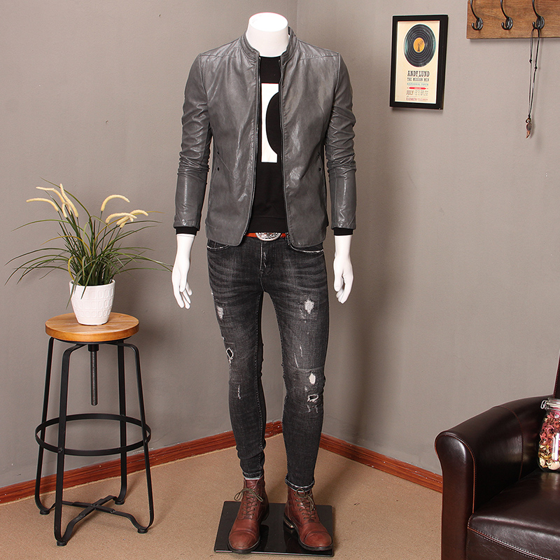 a1ed9107f02 New stand collar leather men s Korean version of the self-cultivation youth  handsome trend leather jacket motorcycle PU men s jacket tide big code