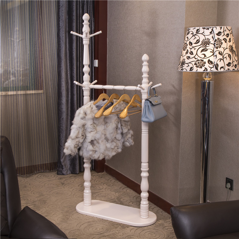 欧式实木衣帽架落地衣架卧室挂衣架客厅创意立式田园风格衣服架子