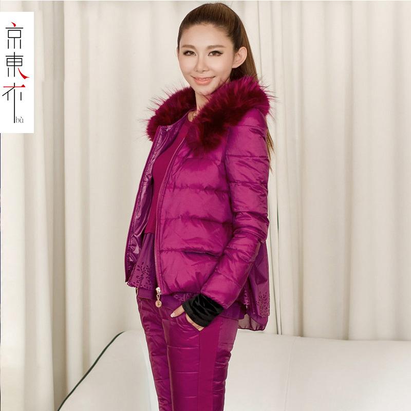 鑫之港时尚套装女2015新款秋装韩版运动服条纹印花显瘦修身两件套