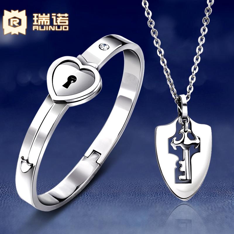 特惠情侣手镯同心锁手链一对男女纯银天使心形钥匙吊坠项链礼物