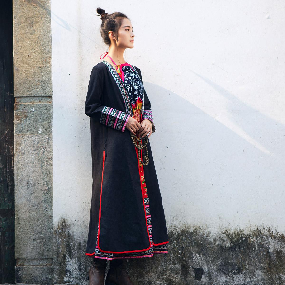 Женская одежда Даньфенсянь творчества: национальные ветер кружевной отделкой фартук Холтер Макси платье/платье кардиган куртка/пальто