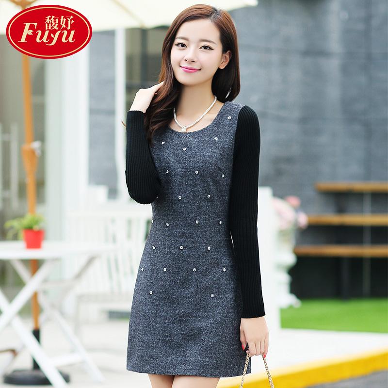 2015秋冬韩版女装长袖连衣裙修身大码a字裙中长款加绒加厚打底裙