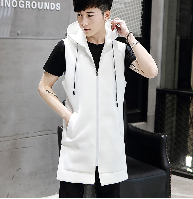 Áo vest dài chuyên nghiệp nam tự tu luyện cá tính trùm đầu không tay áo gió áo khoác giản dị phiên bản Hàn Quốc của xu hướng áo ghi lê vest - Dệt kim Vest
