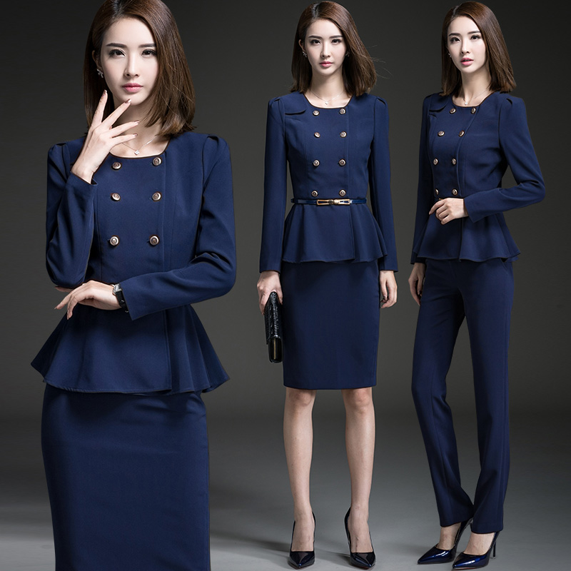 545ea350f9 Occupation wear women s suits spring and autumn long-sleeved ladies dress  beauty salon tooling uniforms blue overalls three-piece