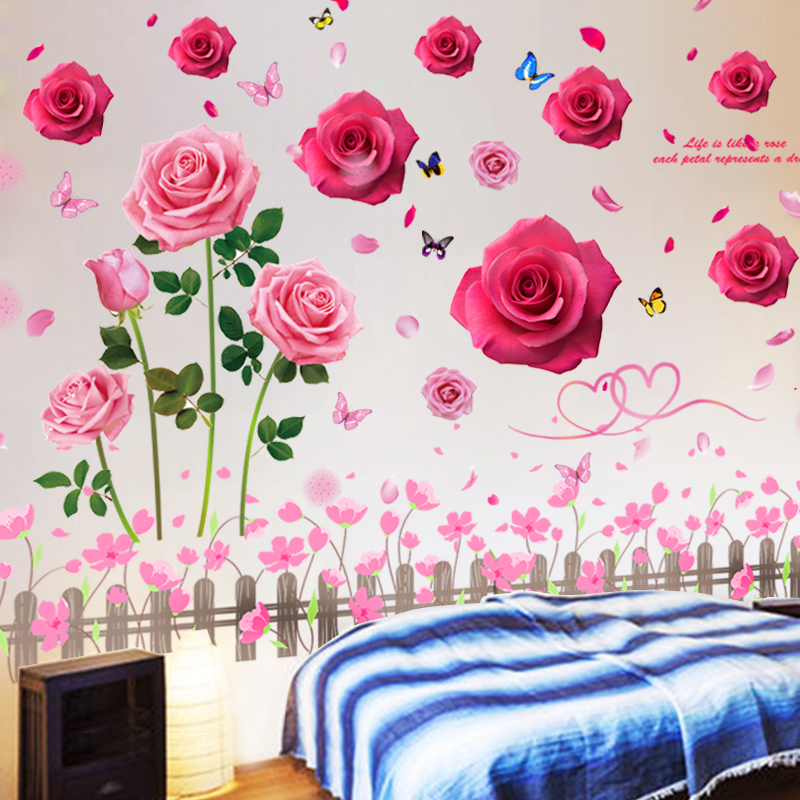 3D three-dimensional warm wall stickers stickers bedroom wall background  decorative wall flower bed wallpaper wall painting wallpaper self-adhesive