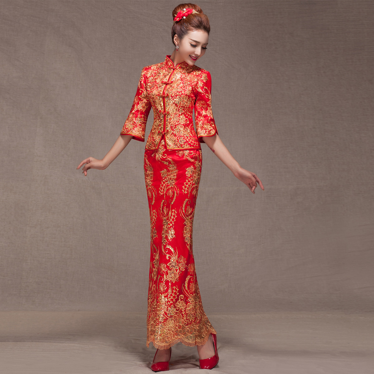 2015夏新款丝绒时尚改良长款旗袍裙修身日常旗袍显瘦连衣裙女大码