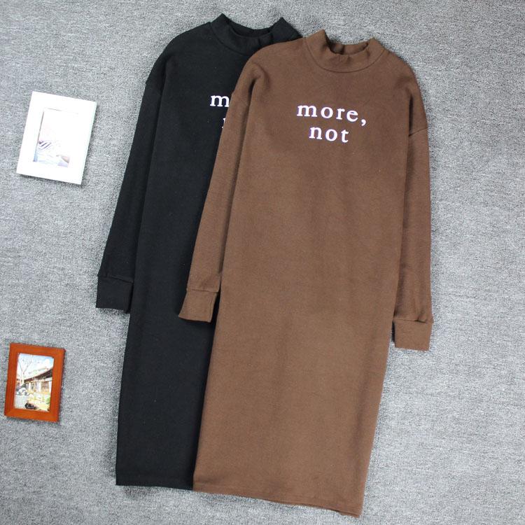 胖MM秋冬季韩版女装中长款t恤加大码 长袖宽松显瘦加厚连衣裙 女