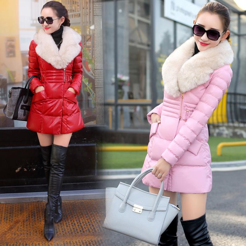 特价秒杀品牌折扣撤柜剪标2015新款冬装PU皮羽绒服纯色毛领外套女