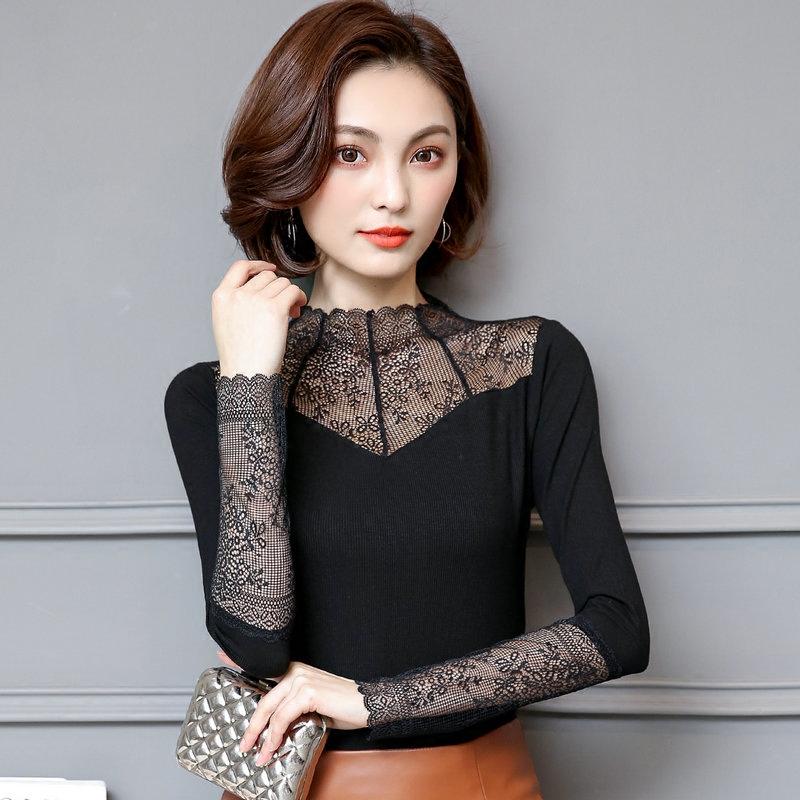 2019春季女装新款高领蕾丝衫女士打底衫长袖短款T恤百搭上衣小衫