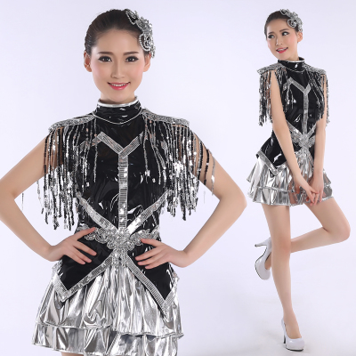 Jazz Dance Costumes Modern Dance Clothing Adult Fashion Sequins Stage DS Night Club Jazz Short Skirt