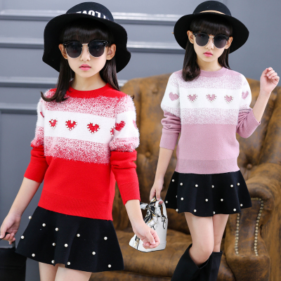 Girls sweaters thickened 2017 new spring and autumn children's knit bottoming shirt baby children's clothing jacket winter