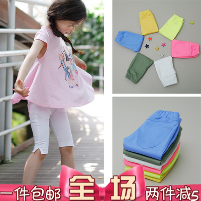 Clearance children's clothing summer girl in tight pants Korean middle school children white side cut five pants cotton girl pants