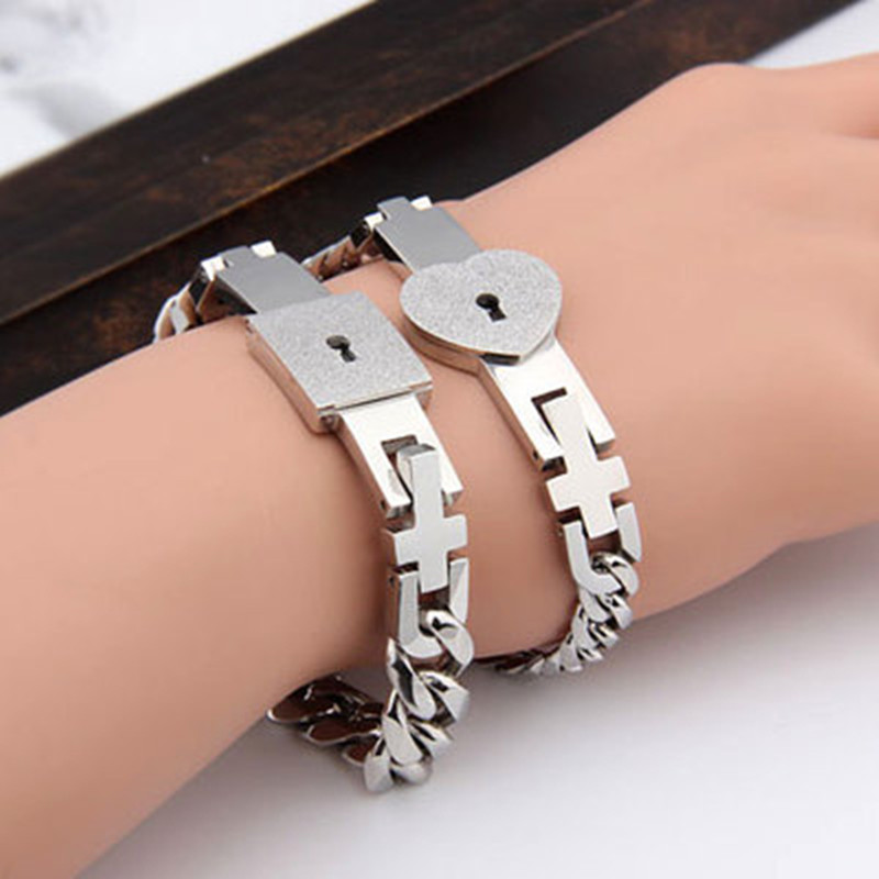 925纯银情侣手镯韩版创意手链男女学生同心锁一对手环带钥匙项链