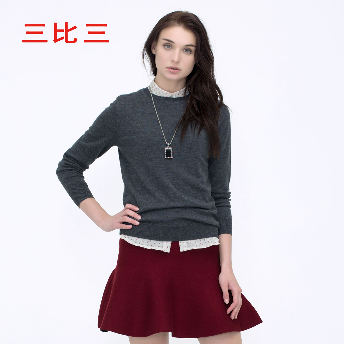 三比三欧美纯羊毛针织衫修身长袖女套头毛衣D32154K010