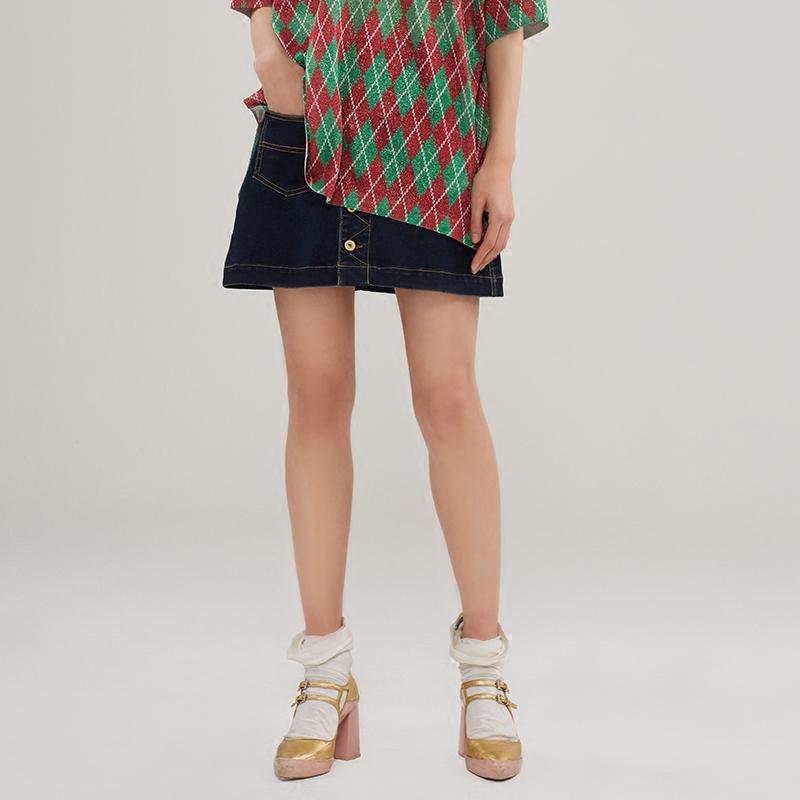 UOOYAA-烏丫新款專柜正品經典廓形時髦貓頭標志單排紐扣牛仔短裙