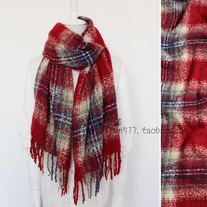 亏本清仓粉格子大米色曲曲绒a格子两用流苏围巾冬季经典女新款披肩