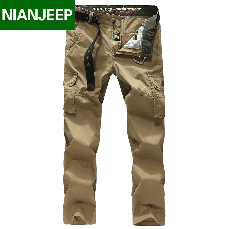 Jeep lá chắn 2018 mùa hè người đàn ông mới của cotton kích thước lớn loose yếm NIAN JEEP giản dị quần dài người đàn ông
