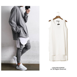 NFG high street 19SS spring and summer plain fabric lengthened split fog wind cotton and linen kanye solid color wild bottoming vest