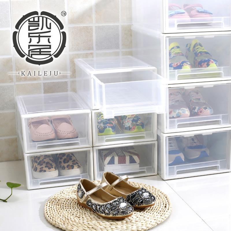 Kl Storage Shoe Box Thick Plastic Storage Box Transparent Shoebox Drawer  Storage Box Dustproof Combination Storage