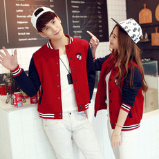 Spring baseball uniform female Korean couple plus custom velvet jacket big yards short section of garden clothes thin cardigan sweater student services