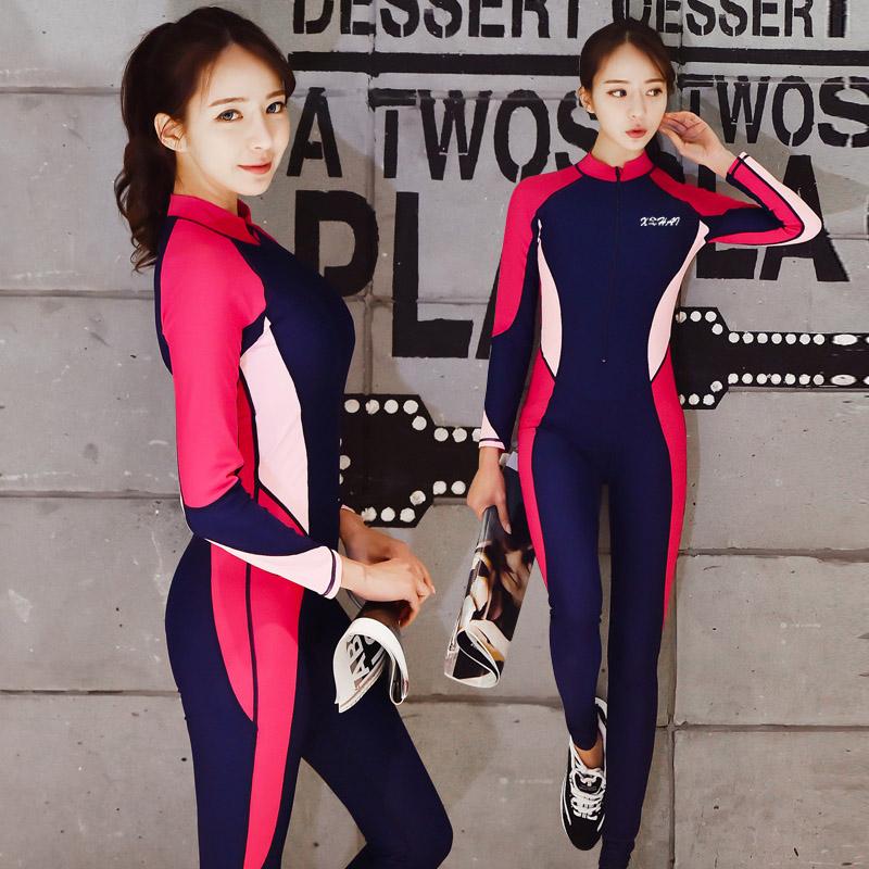 Дайвинг женская одежда длинный рукав солнцезащитный крем купальный костюм сиамский корея плавать медуза поплавок скрытая прибой одежда мужчина трещина любительский