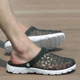 Лето мужской отверстие обувь мужчина случайный шлепанцы песчаный пляж обувной корейская волна струиться воздухопроницаемый женщина половина шлепанцы чалма сандалии мужчина
