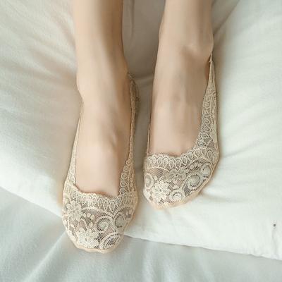 10双蕾丝船袜硅胶防滑纯棉薄款夏天冰丝浅口隐形袜子女夏季不掉跟