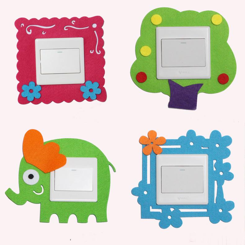 6 cảm thấy chuyển đổi bộ vải ren dán switch mục vụ ổ cắm bảo vệ bìa bụi che dán tường sáng tạo