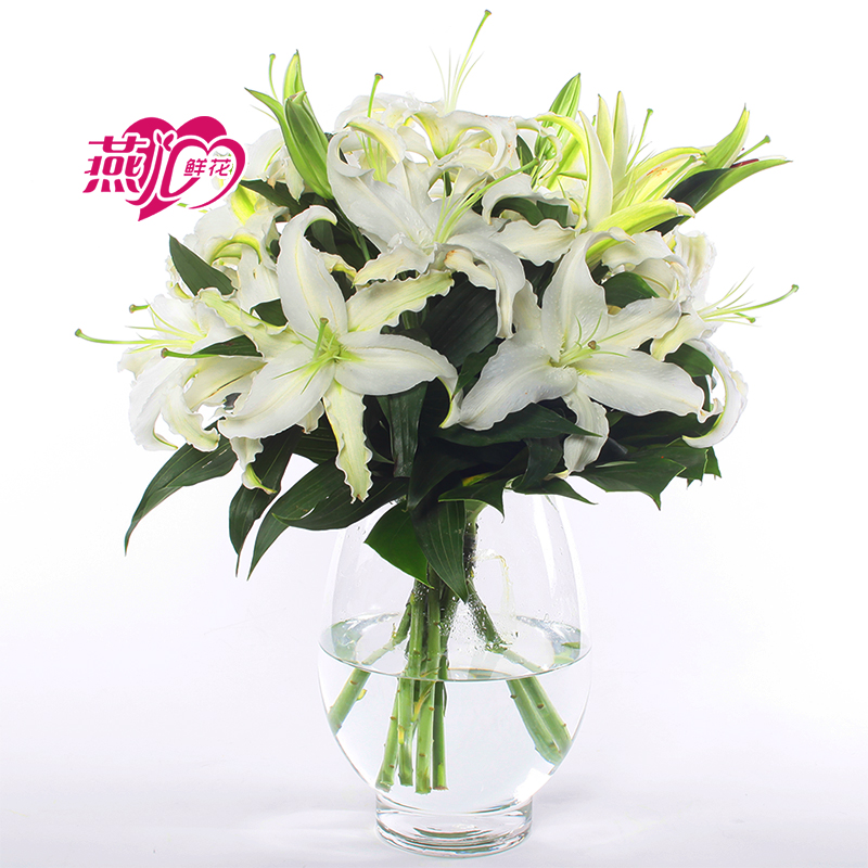 9 Branches Long White Lily Vase Flower Shanghai Flowers Nanjing