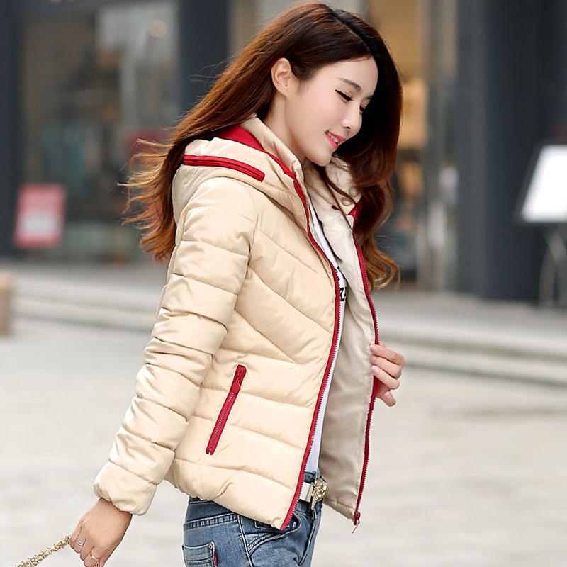 2015新款韩版修身羽绒棉服女装冬装外套短款轻薄帖色连帽棉袄潮
