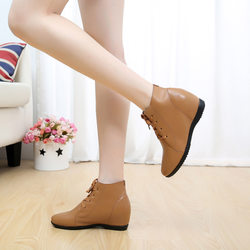 Leather high upper women's shoes in spring and autumn 2020 single shoes round tie up single boot cotton shoes with flat bottom female shoes