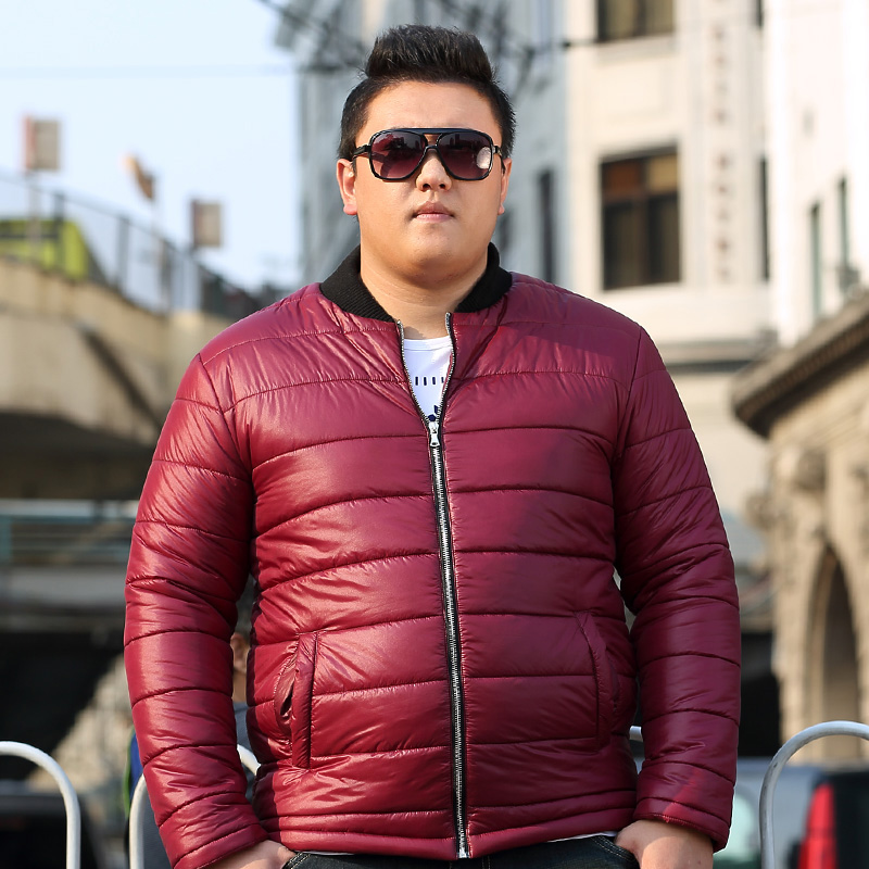 冬季立领印花棉衣男士加肥加大码薄棉服外套韩版修身潮青少年男装